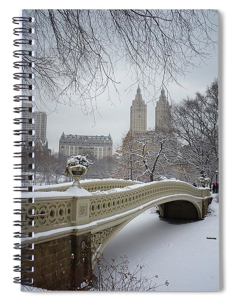 Landscape Spiral Notebook featuring the photograph Bow Bridge Central Park in Winter by Vivienne Gucwa