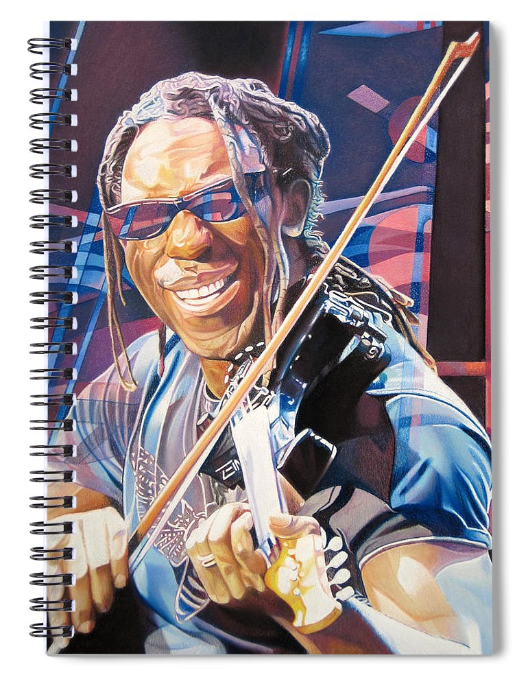 Boyd Tinsley Spiral Notebook featuring the drawing Boyd Tinsley And 2007 Lights by Joshua Morton