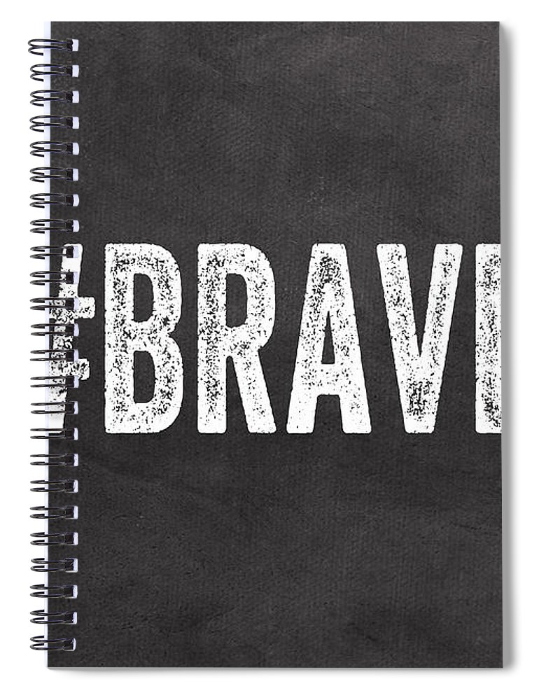 Brave Spiral Notebook featuring the mixed media Brave Card- Greeting Card by Linda Woods
