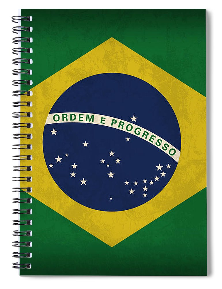 Brazil Flag Spiral Notebook featuring the mixed media Brazil Flag Vintage Distressed Finish by Design Turnpike