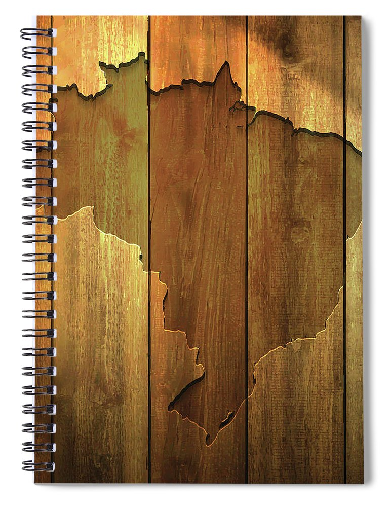 Material Spiral Notebook featuring the digital art Brazil Map On Lit Wooden Background by Bgblue