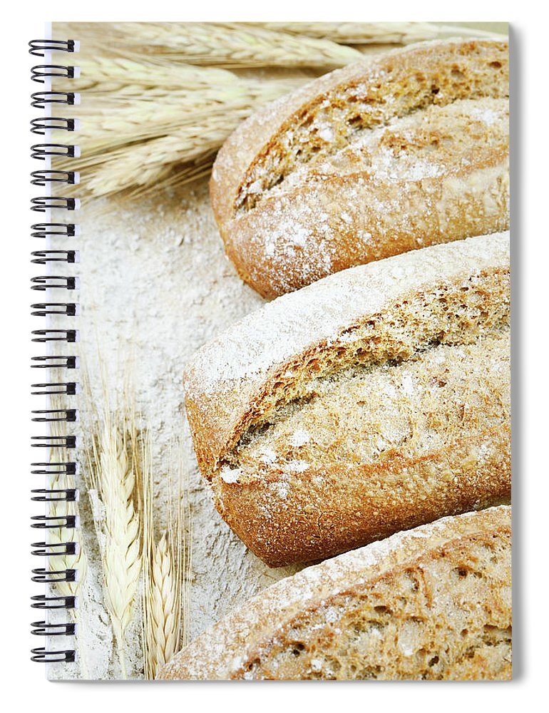 Breakfast Spiral Notebook featuring the photograph Bread by Cactusoup