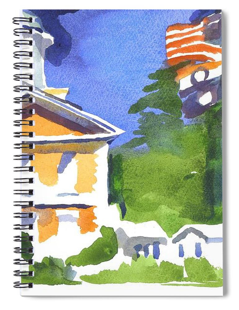 Breezy Morning At The Courthouse Spiral Notebook featuring the painting Breezy Morning At The Courthouse by Kip DeVore