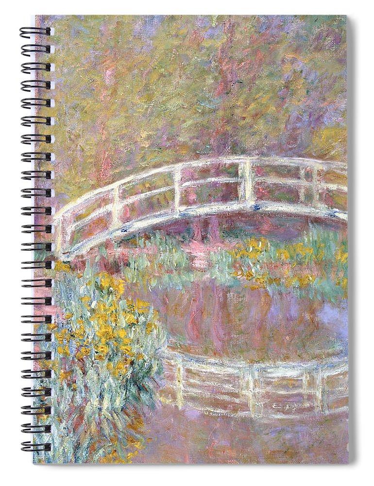Monet Spiral Notebook featuring the painting Bridge In Monet's Garden by Claude Monet