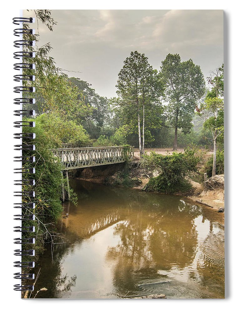 Tranquility Spiral Notebook featuring the photograph Bridge Over Siem Reap River On The Road by Cultura Exclusive/gary Latham