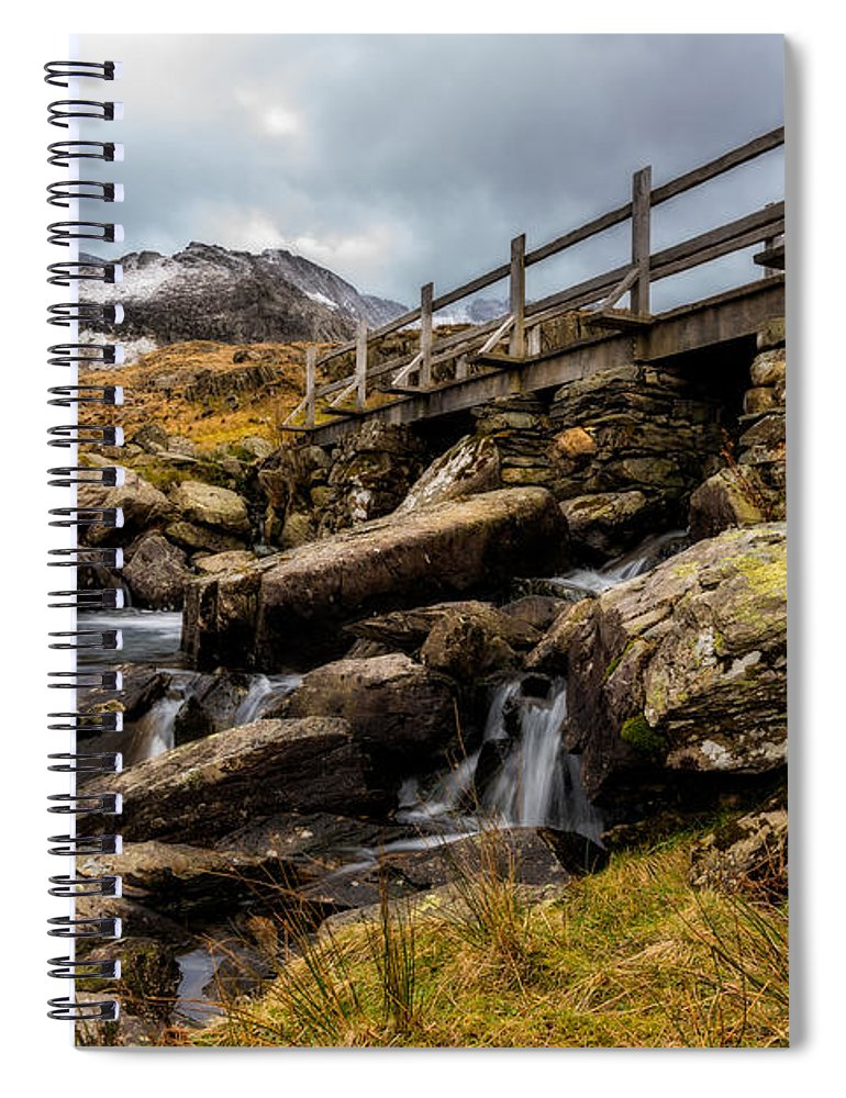 Waterfall Spiral Notebook featuring the photograph Bridge To Idwal by Adrian Evans