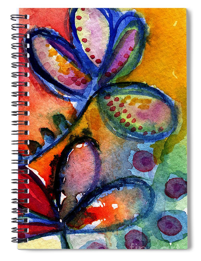 Abstract Spiral Notebook featuring the painting Bright Abstract Flowers by Linda Woods