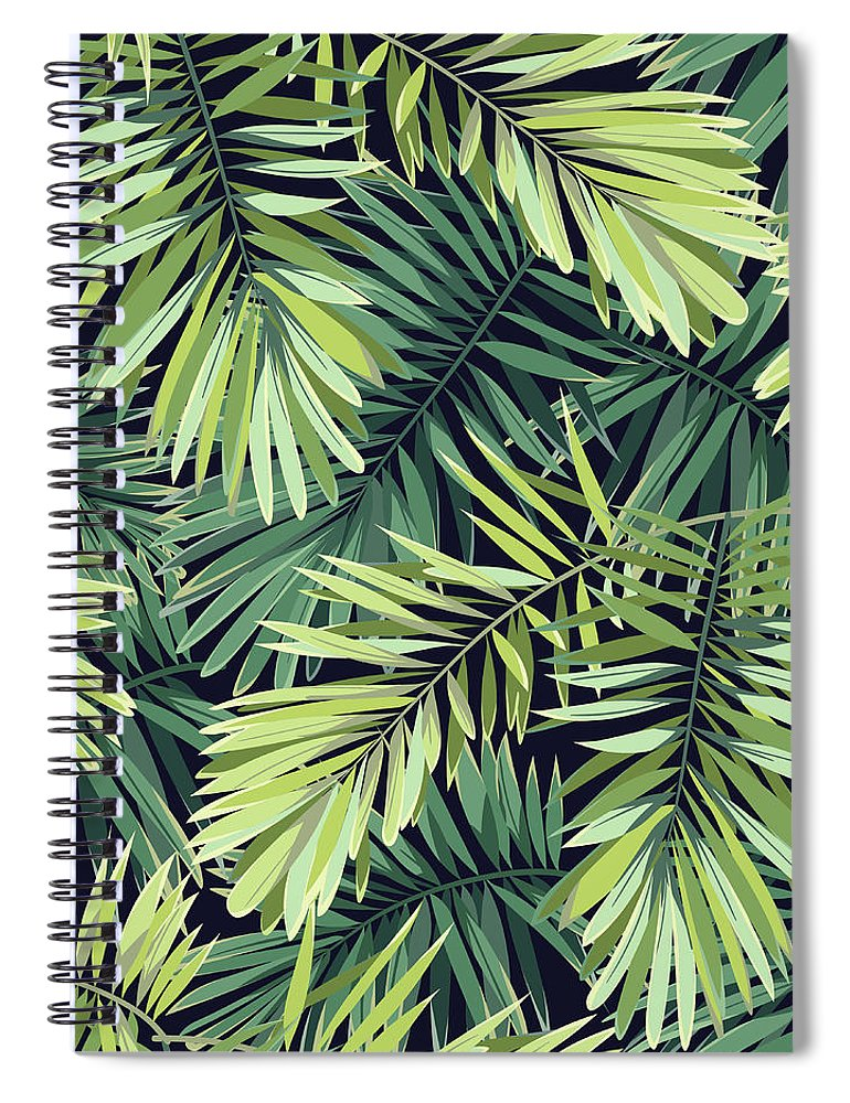Tropical Rainforest Spiral Notebook featuring the digital art Bright Green Background With Tropical by Msmoloko