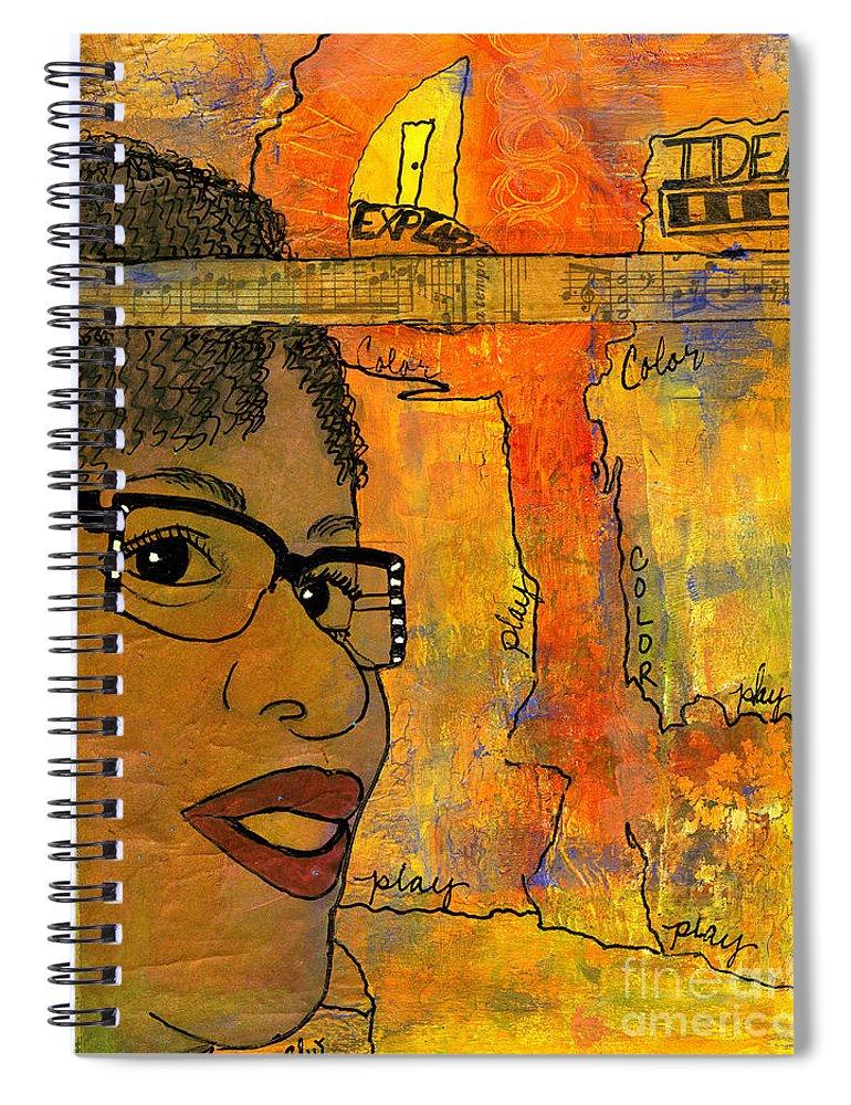 Journal Art Spiral Notebook featuring the mixed media Bright Ideas by Angela L Walker