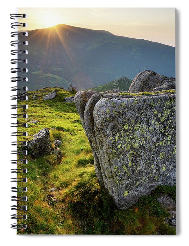 Scenics Spiral Notebook featuring the photograph Bright Sunset Landscape In Mountains by Rezus