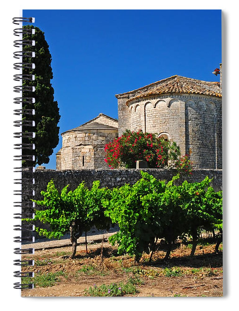 Vineyard Spiral Notebook featuring the photograph Brittany Vineyard And Monastery by Dave Mills