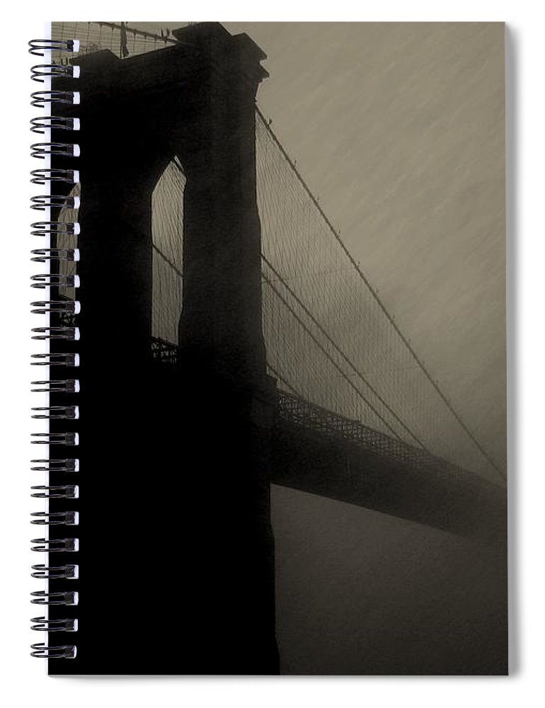 New York Spiral Notebook featuring the photograph Brooklyn Shadows by Jeff Watts