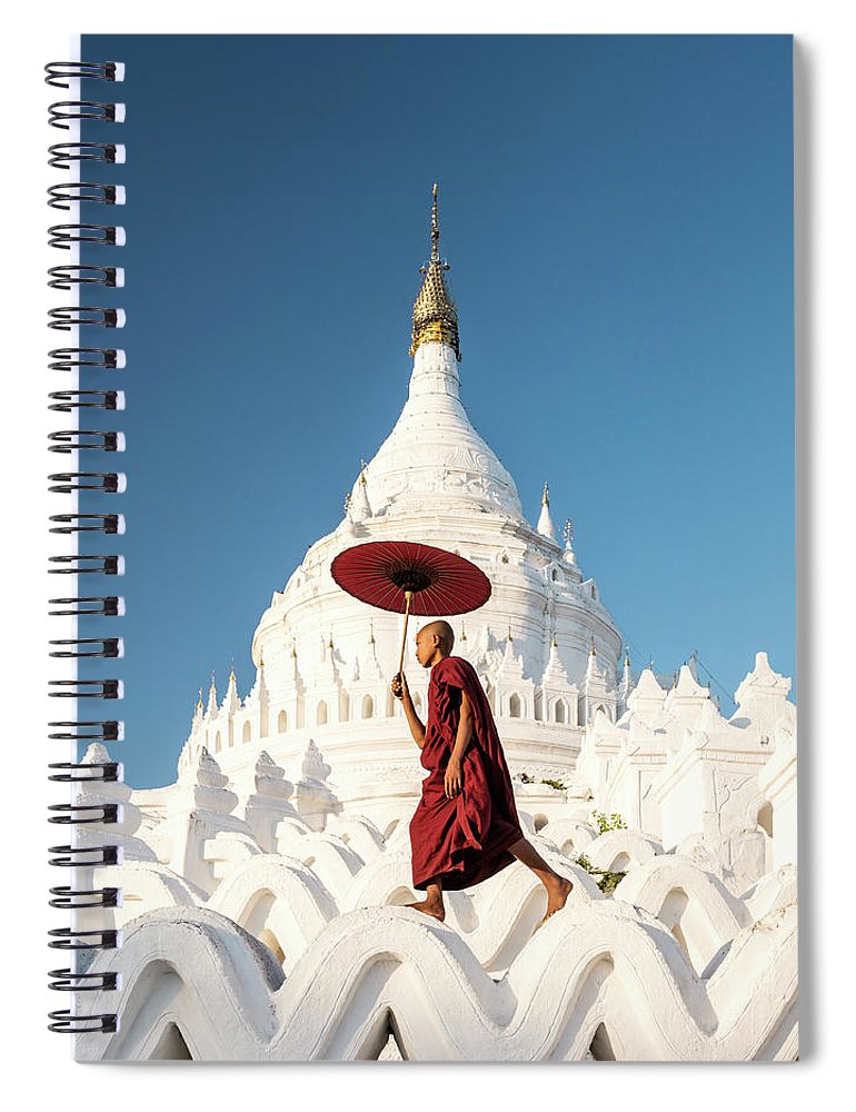 Pagoda Spiral Notebook featuring the photograph Buddhist Monk Walking Across Arches Of by Martin Puddy