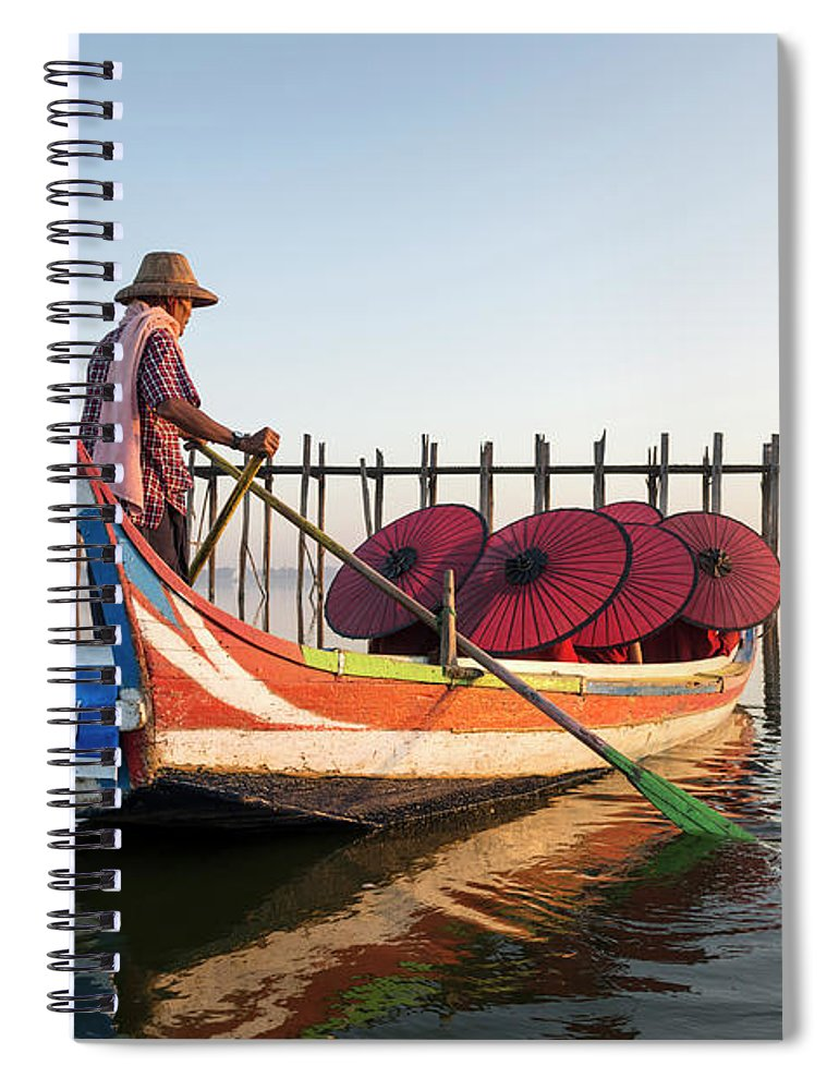 Young Men Spiral Notebook featuring the photograph Buddhist Monks And Sightseeing Boat by Martin Puddy