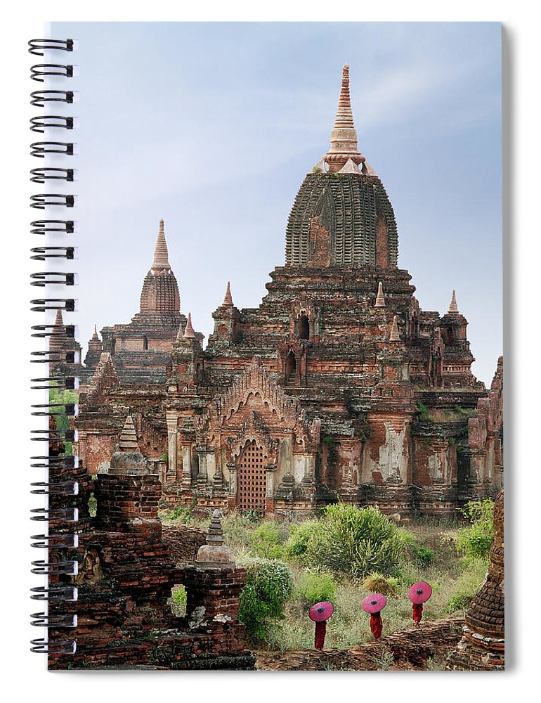 Tranquility Spiral Notebook featuring the photograph Buddhist Monks Walking Past Temple by Martin Puddy