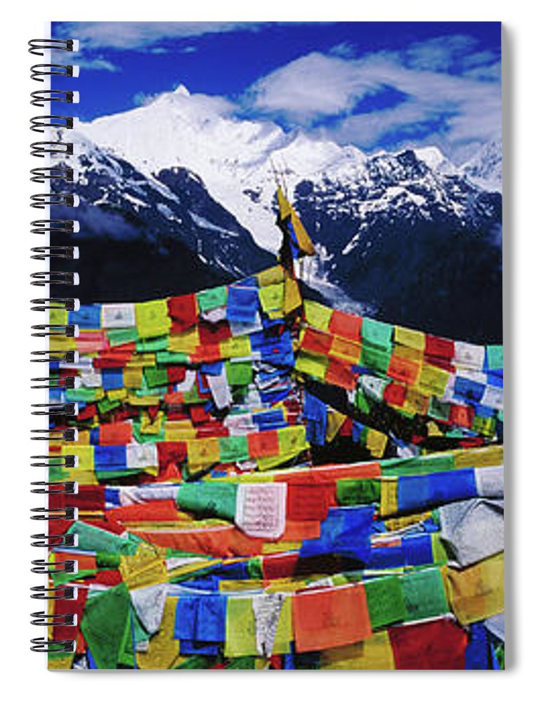 Chinese Culture Spiral Notebook featuring the photograph Buddhist Prayer Flags With Meili by Richard I'anson