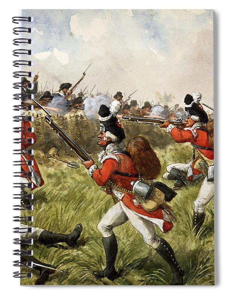 Shooting Spiral Notebook featuring the painting Bunkers Hill, 1775 by Richard Simkin