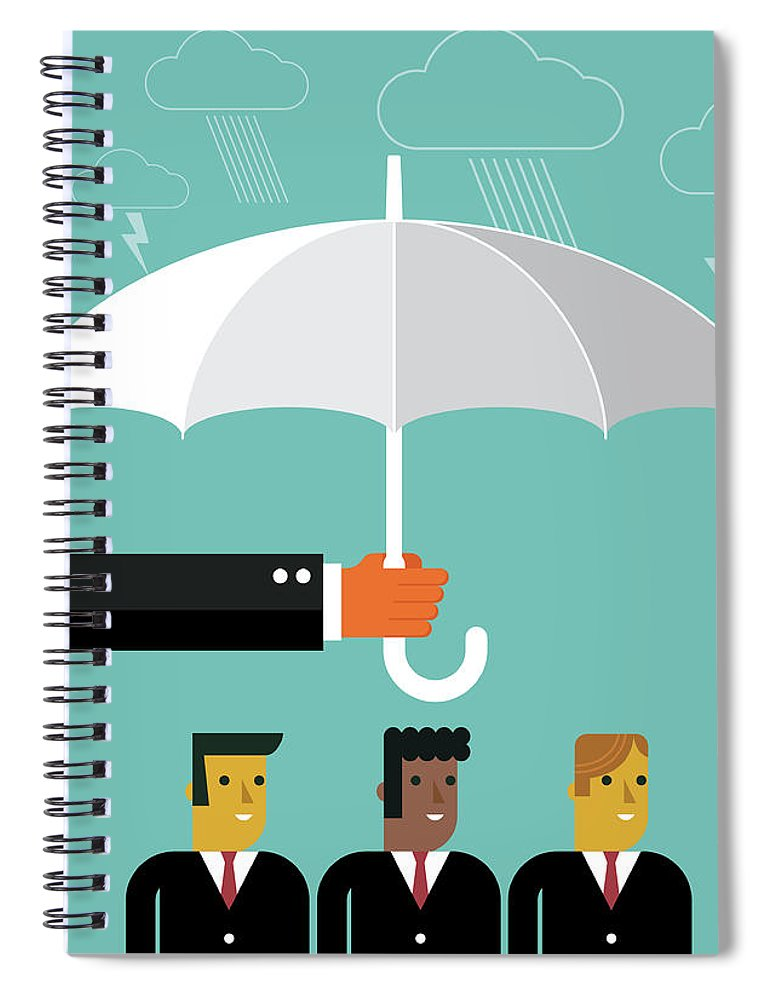 Problems Spiral Notebook featuring the digital art Businessmen Protection by Sorbetto