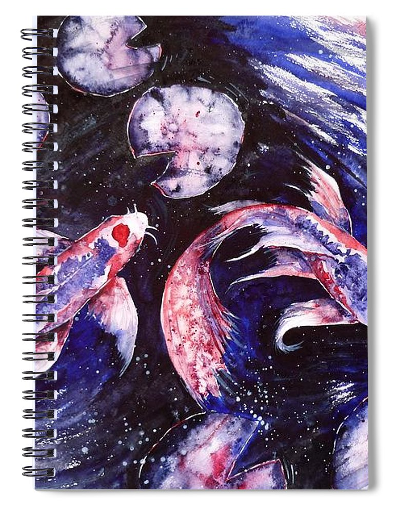 Butterfly Spiral Notebook featuring the painting Butterfly Kois by Zaira Dzhaubaeva
