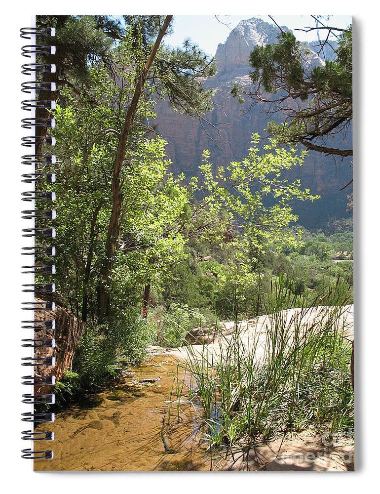 Mountians Spiral Notebook featuring the photograph By The Emerald Pools - Zion Np by Christiane Schulze Art And Photography
