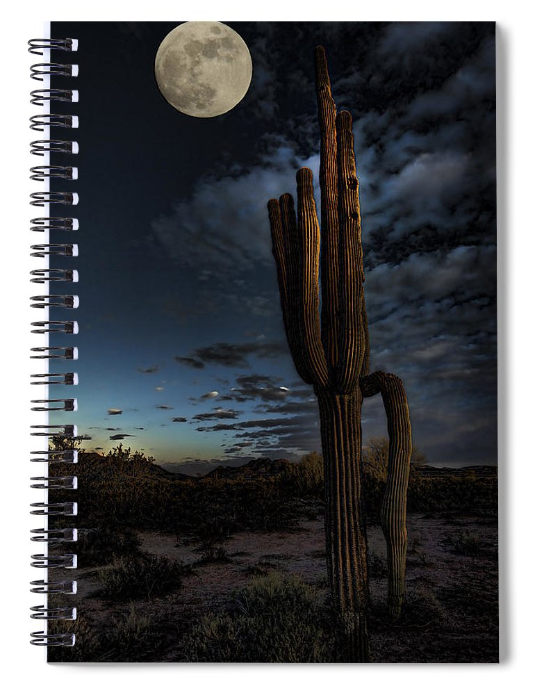 Moon Spiral Notebook featuring the photograph By The Light Of The Moon by Saija Lehtonen