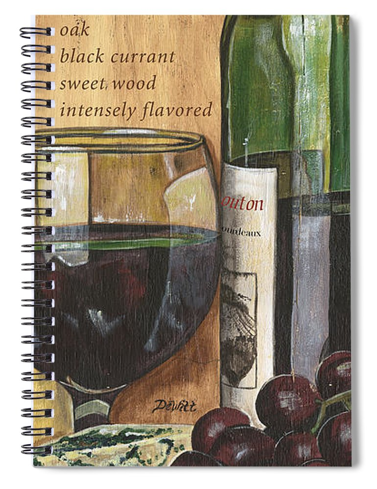 Cabernet Spiral Notebook featuring the painting Cabernet Sauvignon by Debbie DeWitt