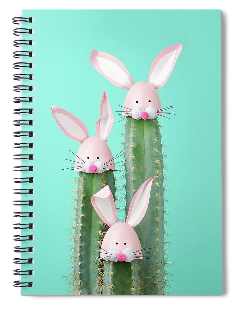 Easter Bunny Spiral Notebook featuring the photograph Cactus With Easter Rabbit Decorations by Juj Winn