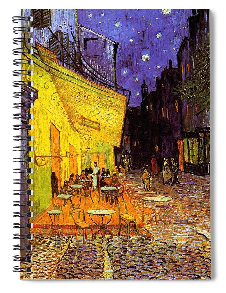 5988edf514 Van Gogh Spiral Notebook featuring the painting Cafe Terrace At Night by Vincent  Van Gogh