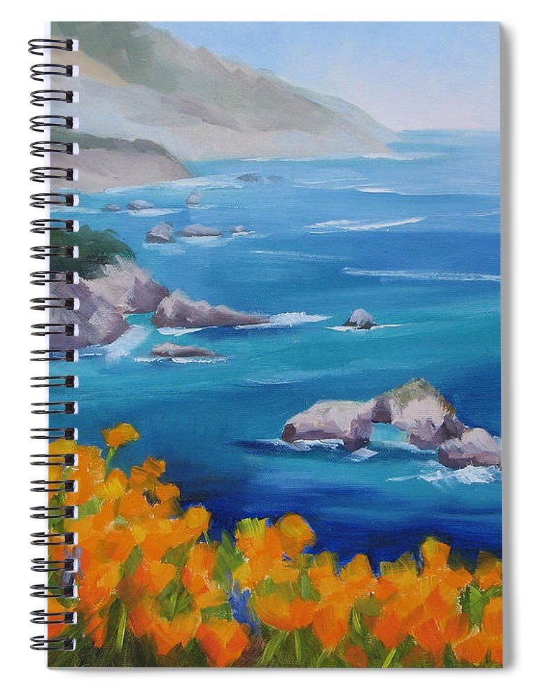 Big Sur Spiral Notebook featuring the painting California Poppies Big Sur by Karin Leonard