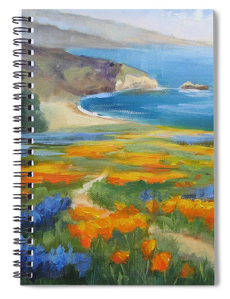 Big Sur Spiral Notebook featuring the painting California Spring Big Sur Coast by Karin Leonard