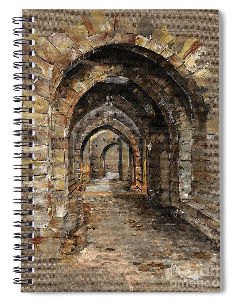 Camelot Spiral Notebook featuring the painting Camelot - The Way To Ancient Times - Elena Yakubovich by Elena Yakubovich