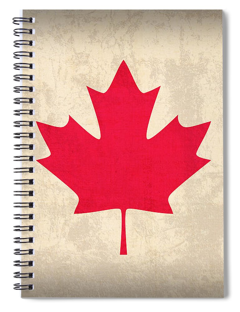 Canada Spiral Notebook featuring the mixed media Canada Flag Vintage Distressed Finish by Design Turnpike