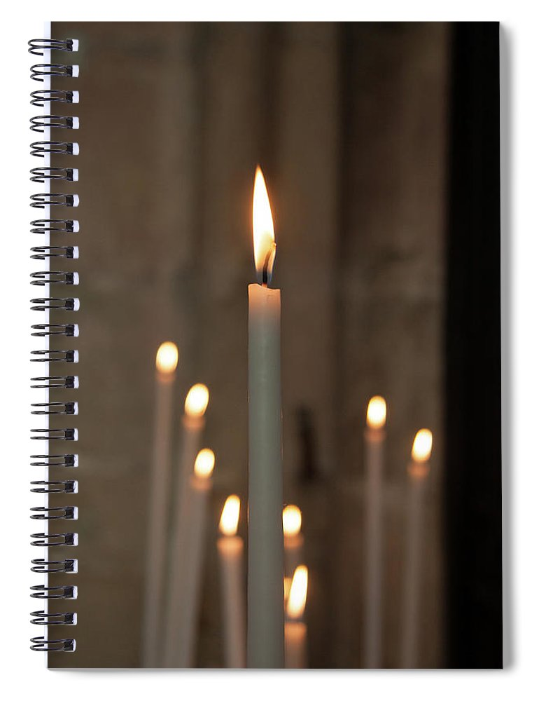 Burning Spiral Notebook featuring the photograph Candles by Martine Roch