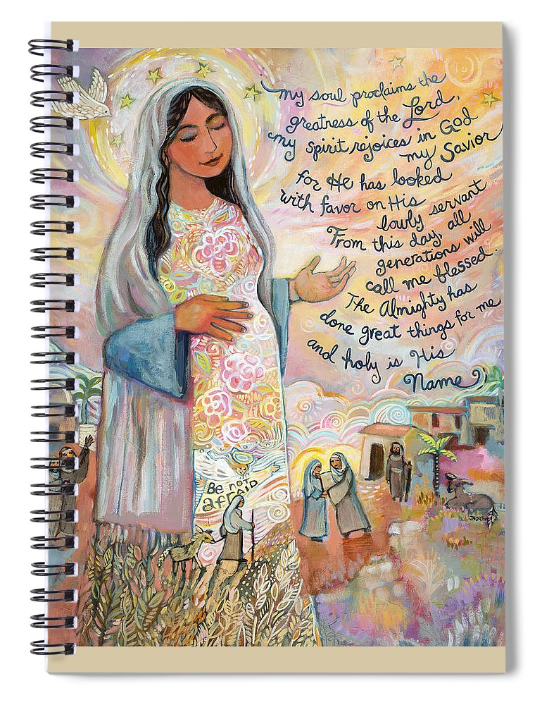 Jen Norton Spiral Notebook featuring the painting Canticle of Mary by Jen Norton