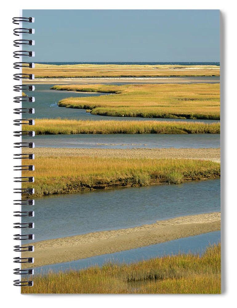 Grass Spiral Notebook featuring the photograph Cape Cod Wetlands by Frankvandenbergh