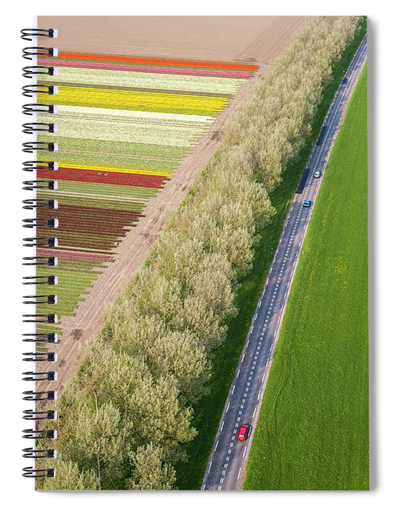 Scenics Spiral Notebook featuring the photograph Car On Road Near Tulip Fields, Holland by Peter Adams