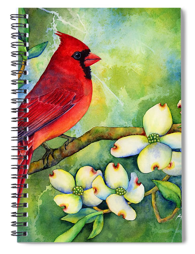Cardinal Spiral Notebook featuring the painting Cardinal On Dogwood by Hailey E Herrera