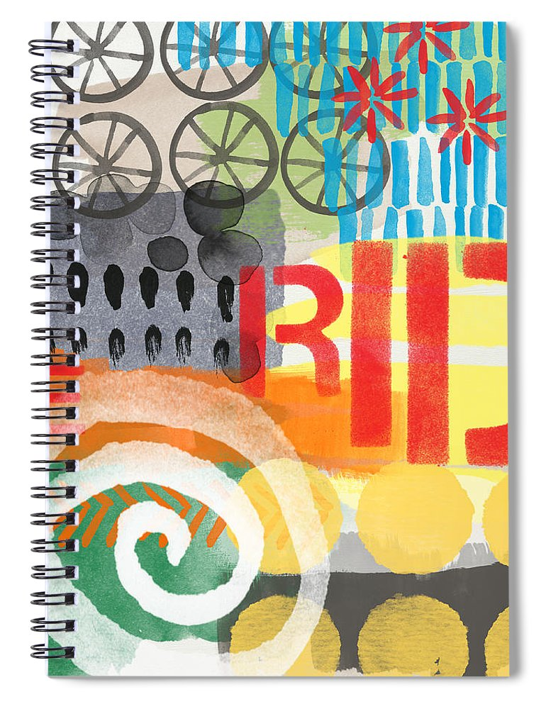 Bike Spiral Notebook featuring the painting Carousel #6 Ride- Contemporary Abstract Art by Linda Woods