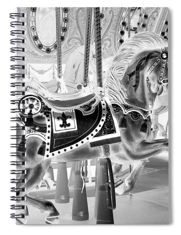 Carousel Spiral Notebook featuring the photograph Carousel In Negative 3 by Rob Hans