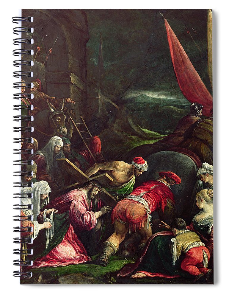 Son Of God Spiral Notebook featuring the painting Carrying The Cross, 1592 by Gerolamo Bassano
