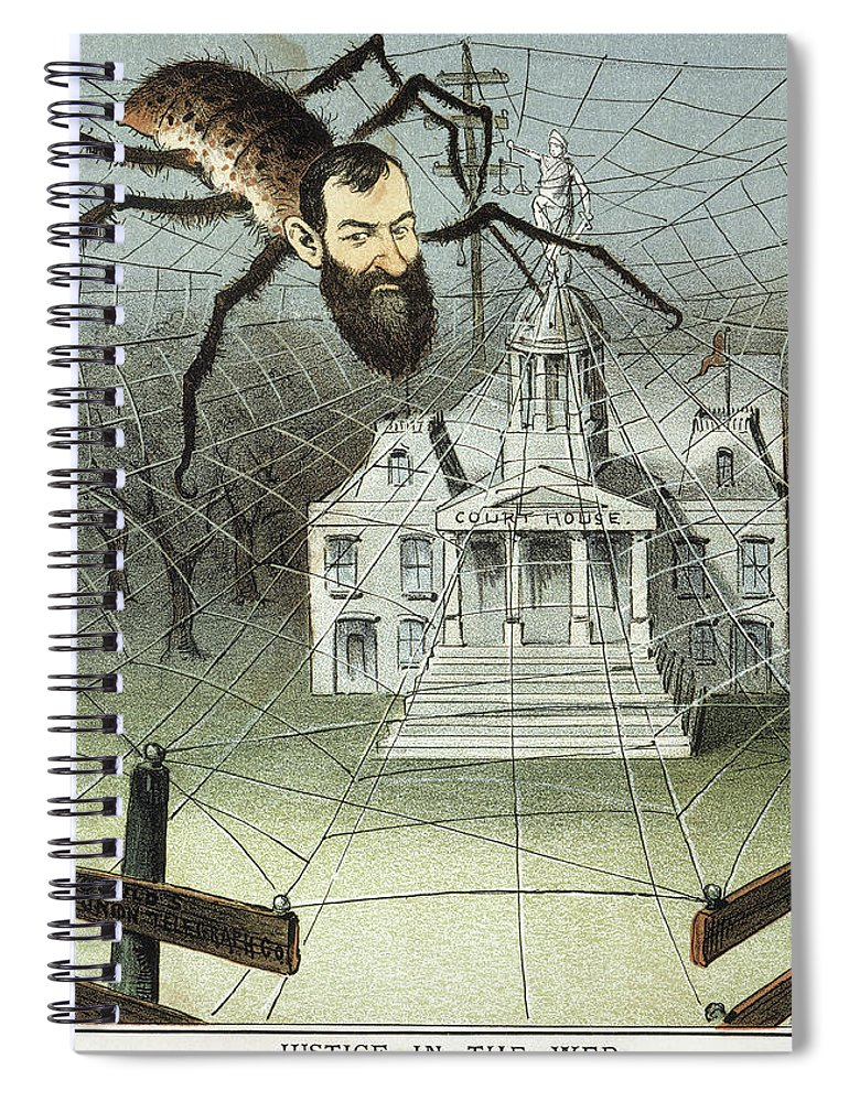 1885 Spiral Notebook featuring the painting Cartoon Jay Gould, 1885 by Granger