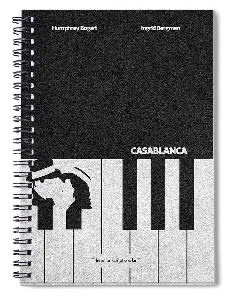 Casablanca Spiral Notebook featuring the digital art Casablanca by Inspirowl Design