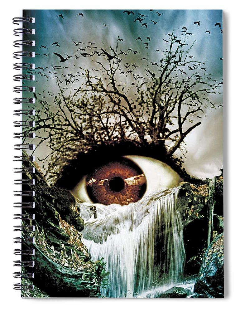 Eye Spiral Notebook featuring the digital art Cascade Crying Eye by Marian Voicu