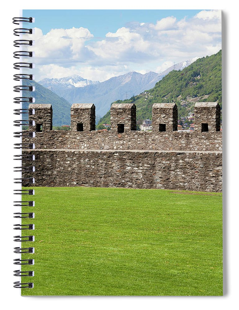 Scenics Spiral Notebook featuring the photograph Castle Wall Of Bellinzona's Unesco by Ifish