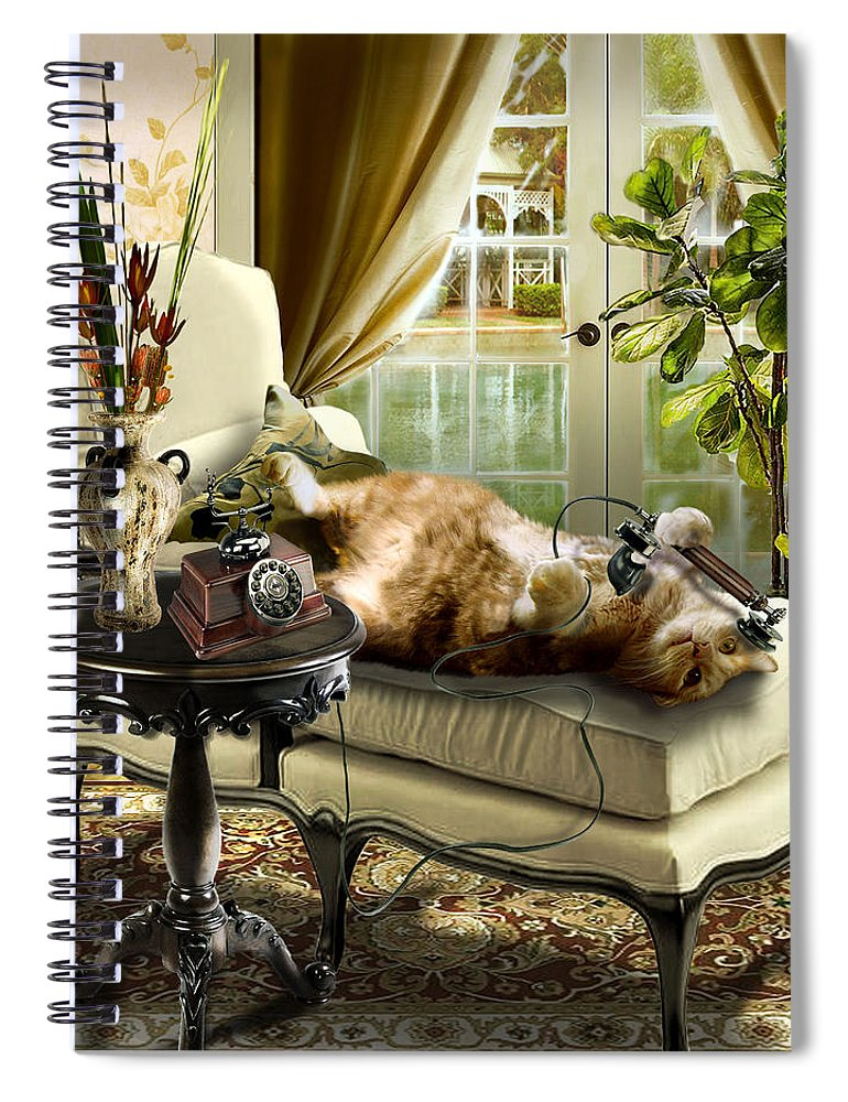 Pet Cat Painting Spiral Notebook featuring the painting Funny pet talking on the phone by Regina Femrite
