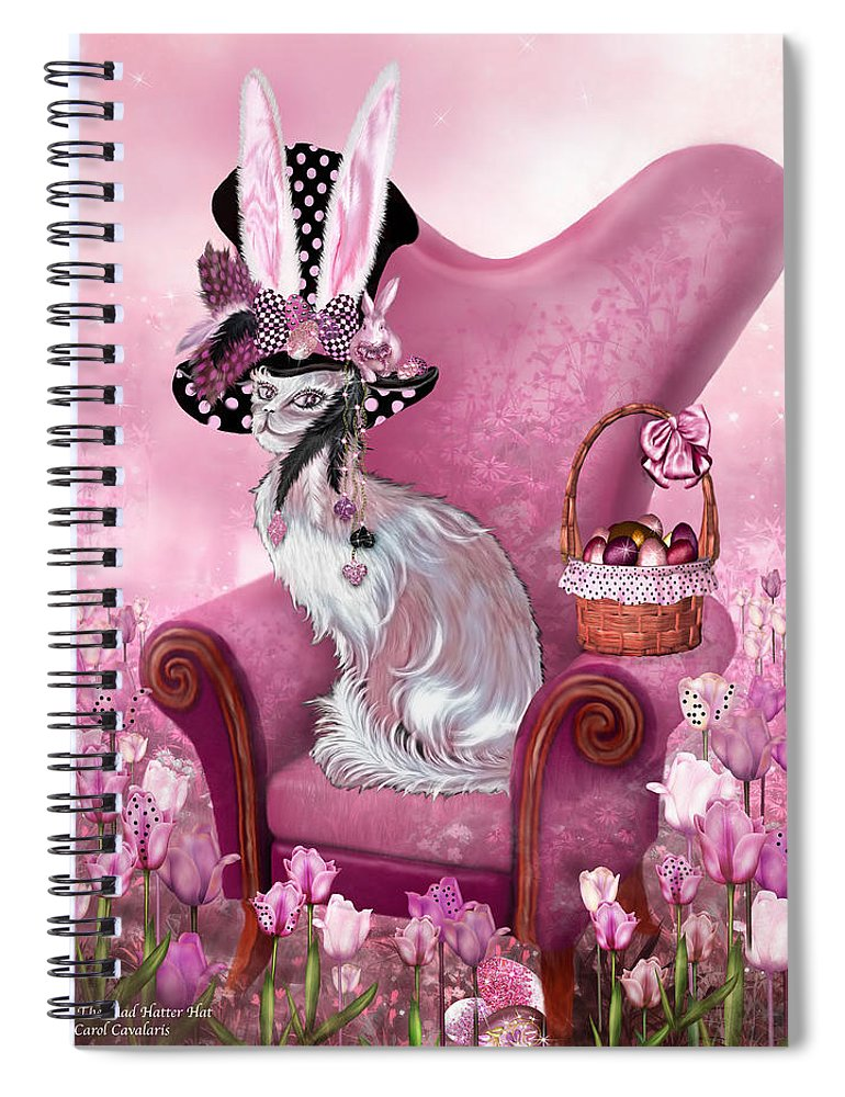 Cat In Mad Hatter Hat Spiral Notebook For Sale By Carol Cavalaris