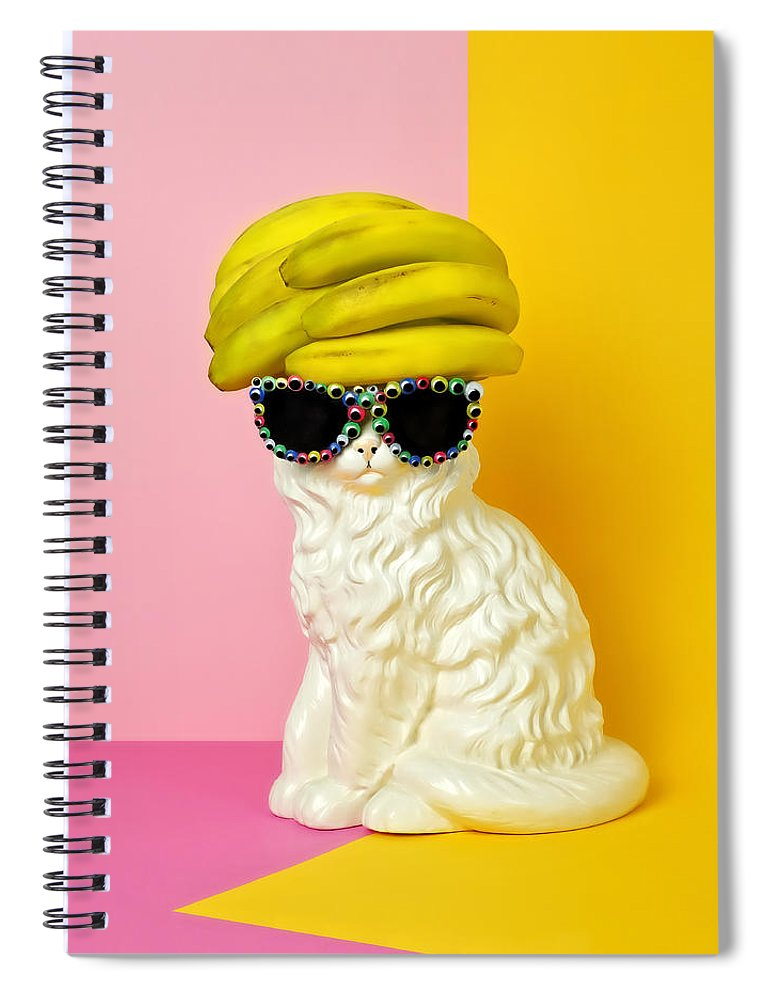 Statue Spiral Notebook featuring the photograph Cat Wearing Sunglasses And Banana Wighat by Juj Winn