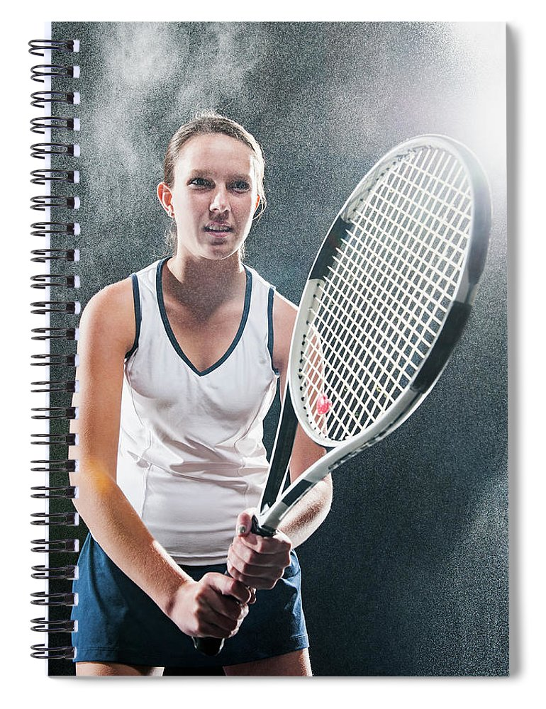 Cool Attitude Spiral Notebook featuring the photograph Caucasian Tennis Player In Rain by Erik Isakson