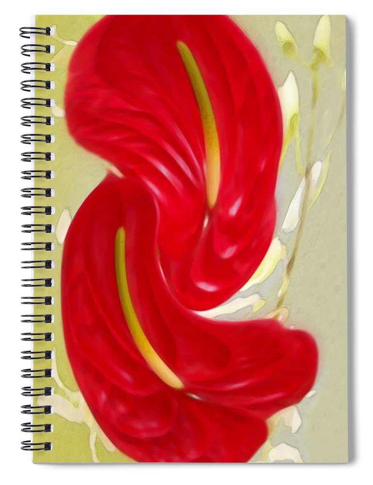 Anthurium Spiral Notebook featuring the photograph Celebration - Red Anthurium And White Orchids by Ben and Raisa Gertsberg