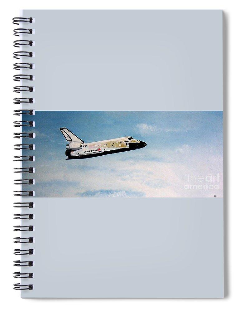 Shuttle Spiral Notebook featuring the painting Challenger by Murphy Elliott